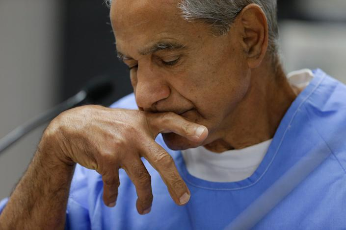 Sirhan Sirhan reacts during a parole hearing in 2016 in San Diego.