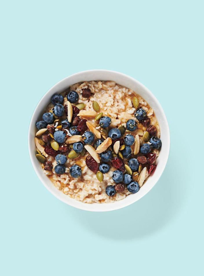 """<p><strong>Starbucks</strong></p><p>starbucks.com</p><p><a href=""""https://www.starbucks.com/menu/product/994/single?parent=%2Ffood%2Foatmeal-and-yogurt"""" rel=""""nofollow noopener"""" target=""""_blank"""" data-ylk=""""slk:Order Now"""" class=""""link rapid-noclick-resp"""">Order Now</a></p><p><strong>Calories</strong>: 220</p><p><strong>Sodium</strong>: 125mg</p><p><strong>Total Carbohydrates</strong>: 43g</p><p><strong><strong>Total Sugars: </strong></strong>13g</p><p>Since the chain has yet to debut an entirely vegan breakfast sandwich at this time, this may be the only entirely plant-based breakfast option at Starbucks. For a quick option, the steel-cut oats hold up well to fresh fruit, Sassos says, and oatmeal fans won't be disappointed. </p><p><strong>Nutrition Lab Pro Tip: </strong>Reduce the amount of agave syrup sweeteners you're using from the standard two to one if possible; and try not to add extra brown sugar or coffee-bar options for best results. </p>"""