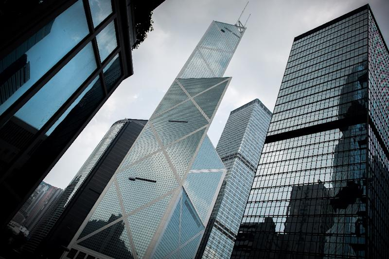 I.M. Pei completed the Bank of China tower (center) in Hong Kong the same year as the Louvre Pyramid opened to the public in Paris (AFP Photo/PHILIPPE LOPEZ)