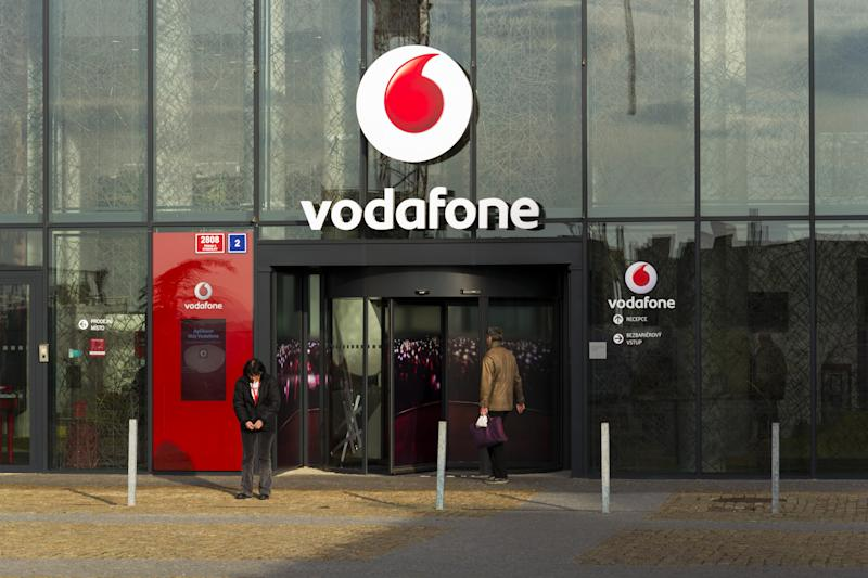 Prague, Czech republic - November 7, 2016: Vodafone telecommunications company logo on Czech headquarters on November 7, 2016 in Prague, Czech republic. Vodafone India will launch 4G services across eight additional circles and 2,400 towns by March 2017.