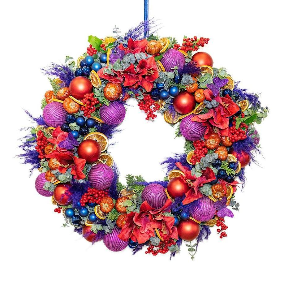 "<p>Dedicated to the tireless work of the nurses, doctors and staff at The Chelsea and Westminster hospital, this rainbow of a wreath spreads cheer and also does good – 10% of all profits will be donated to the NHS. £240, London delivery only, <a href=""https://www.maisondefleurs.co.uk/collections/christmas-shop/products/the-chelsea-westminster-wreath"" rel=""nofollow noopener"" target=""_blank"" data-ylk=""slk:maisondefleurs.co.uk"" class=""link rapid-noclick-resp"">maisondefleurs.co.uk</a></p>"