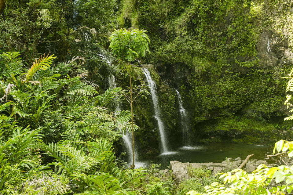 FILE- In this Sept. 24, 2014, file photo, are three waterfalls by the Hana Highway near Hana, Hawaii. So many tourists are flocking to Maui now that coronavirus pandemic concerns have eased in the United States that islanders are feeling overwhelmed and Maui's mayor is begging airlines to cut back on the number of people they fly to the island. (AP Photo/Marco Garcia, File)