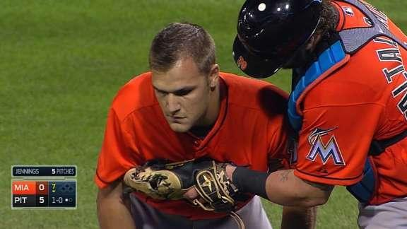 Marlins pitcher Dan Jennings hit in the head by line drive, suffers concussion