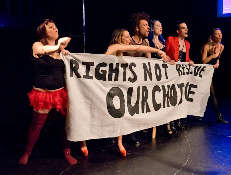 Campaigners for the decriminalisation of sex work in the Sex Workers' Opera: Sex Workers Opera