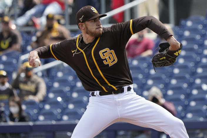San Diego Padres' Joe Musgrove pitches during the first inning of the team's spring training baseball game against the Chicago White Sox, Tuesday, March 16, 2021, in Peoria, Ariz. (AP Photo/Sue Ogrocki)