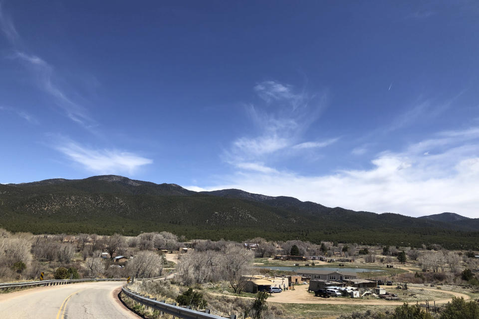 In this Thursday, April 23, 2020 photo, is the Picuris Pueblo in northern New Mexico. The tribe is among plaintiffs in a federal lawsuit that seeks to keep the U.S. Treasury Department from disbursing coronavirus relief funding for tribes to Alaska Native corporations. (AP Photo/Morgan Lee)