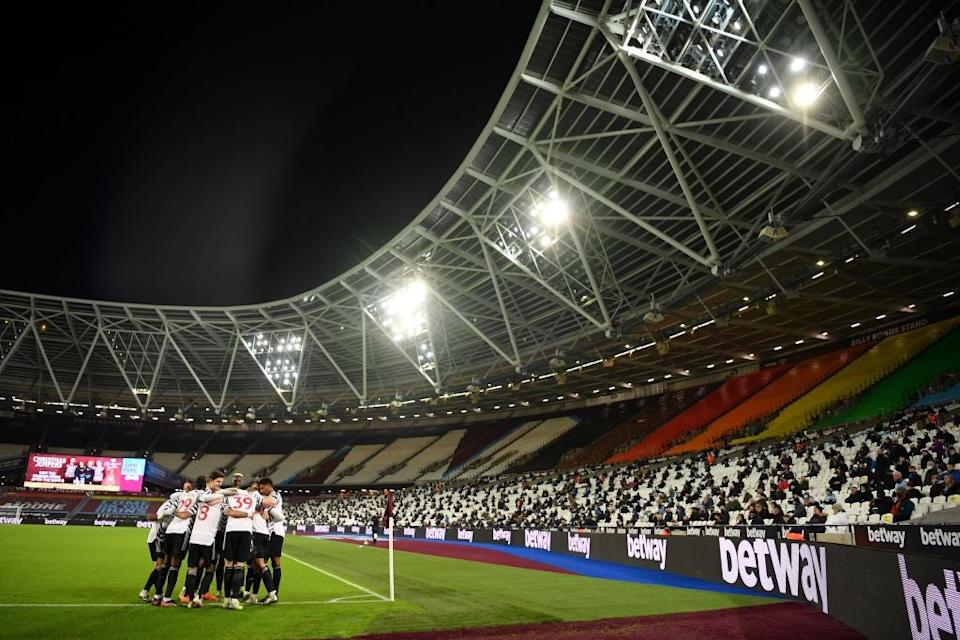 <p>Fans returned to the London Stadium</p>POOL/AFP