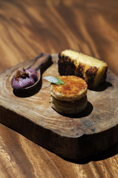 Ube with Pastillas, Banana Inipit with Burnt Custard and Grilled Cassava Cake at Toyo Eatery
