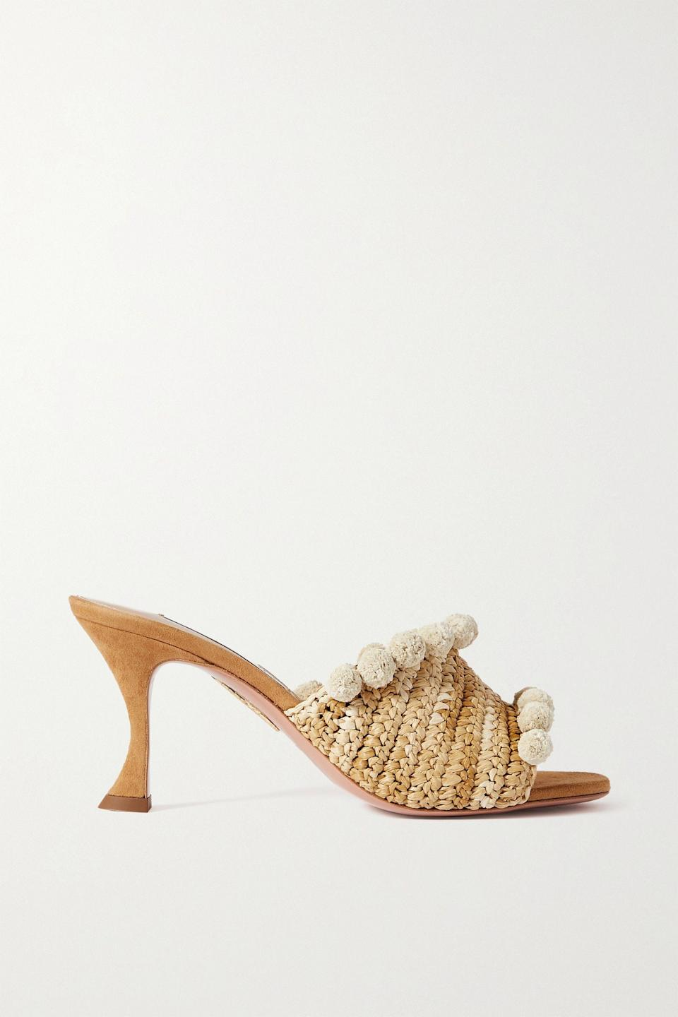 """<p><strong>Aquazzura</strong></p><p>net-a-porter.com</p><p><strong>$850.00</strong></p><p><a href=""""https://go.redirectingat.com?id=74968X1596630&url=https%3A%2F%2Fwww.net-a-porter.com%2Fen-us%2Fshop%2Fproduct%2Faquazzura%2Fshoes%2Fmid-heel%2Fpompom-embellished-woven-raffia-mules%2F2204324138602836&sref=https%3A%2F%2Fwww.townandcountrymag.com%2Fstyle%2Ffashion-trends%2Fg36200206%2Fsummer-shoes%2F"""" rel=""""nofollow noopener"""" target=""""_blank"""" data-ylk=""""slk:Shop Now"""" class=""""link rapid-noclick-resp"""">Shop Now</a></p><p>Summery raffia and playful pom-poms: this pair of heels has everything you need to get into summery party season.</p>"""