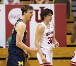 Michigan guard Franz Wagner (21) reacts after being fouled while scoring during the second half of an NCAA college basketball game against Indiana, Saturday, Feb. 27, 2021, in Bloomington, Ind. Michigan won 73-57. (AP Photo/Doug McSchooler)