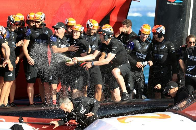Team New Zealand celebrated their victory in Auckland