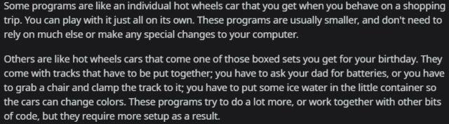 A user answering why some programs need to be installed before using and some don't