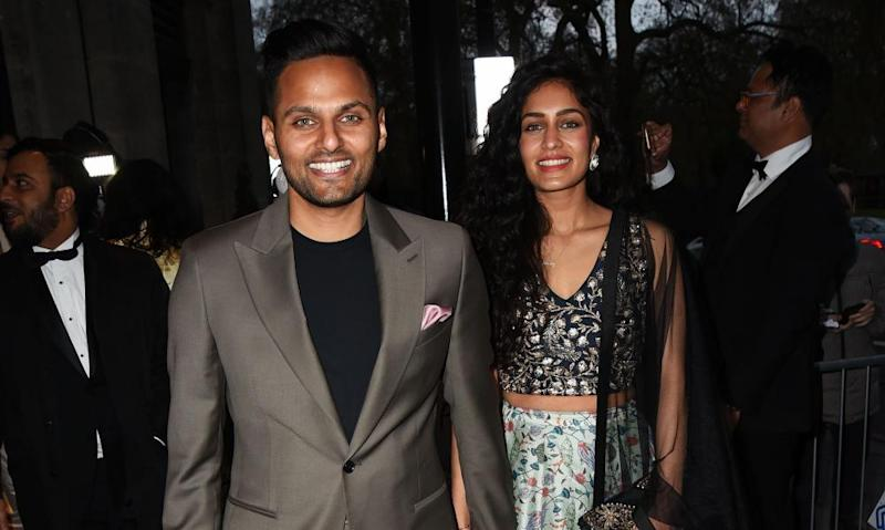 Jay Shetty with his wife, Roshni Devlukia, at an awards ceremony in London.