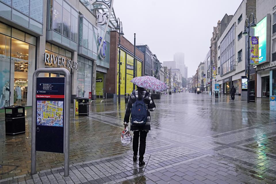 The scene in Leeds city centre the morning after England were beaten in the final of the UEFA Euro 2020. Picture date: Monday July 12, 2021.