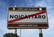 A sign for the town of Noicattaro, a major area of grape production in the southern Italian region of Puglia, Italy