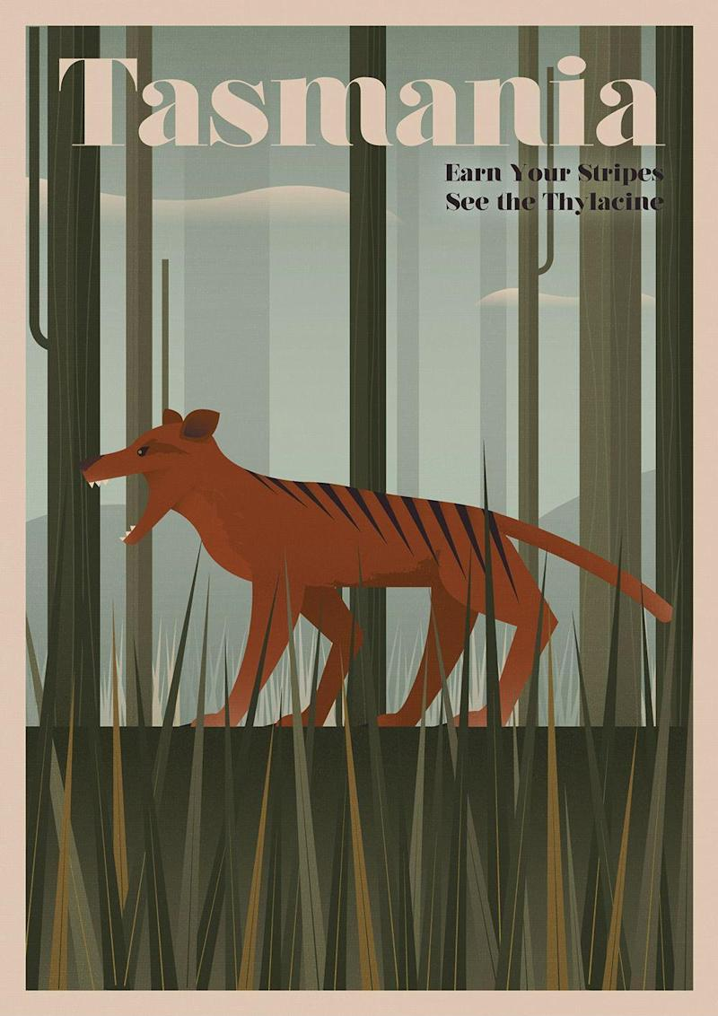 A reconstructed tourist poster featuring the thylacine, created to call attention to the loss of other species across the globe: (Expedia.co.uk)