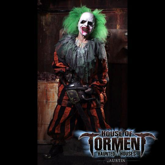 """<p>Austin's celebrated fright fest, <a href=""""http://www.houseoftorment.com/"""" rel=""""nofollow noopener"""" target=""""_blank"""" data-ylk=""""slk:House of Torment"""" class=""""link rapid-noclick-resp"""">House of Torment</a>, consists of three haunts: """"Dead End District,"""" the domain of a half-human/half-insect mad scientist; """"Hex of the Harvest,"""" a creepy, pumpkin-filled island that would even make Linus forget about his Great Pumpkin quest and run off screaming with his blanket; and """"Slaughterhouse,"""" which consists of clowns wielding chainsaws. Fun fact: even typing the words """"clowns wielding chainsaws"""" is enough to induce nightmares. (<i>Photo: <a href=""""https://www.facebook.com/HouseofTorment"""" rel=""""nofollow noopener"""" target=""""_blank"""" data-ylk=""""slk:House of Torment/Facebook"""" class=""""link rapid-noclick-resp"""">House of Torment/Facebook</a>)</i><br></p><p><b><i>Related: <a href=""""http://r.search.yahoo.com/_ylt=A0SO81VIQiRWYdgAkFlXNyoA;_ylu=X3oDMTByNWU4cGh1BGNvbG8DZ3ExBHBvcwMxBHZ0aWQDBHNlYwNzYw--/RV=2/RE=1445245641/RO=10/RU=https%3a%2f%2fwww.yahoo.com%2ftravel%2famericas-greatest-pumpkin-patches-to-visit-now-033346123.html/RK=0/RS=g_OJ5XayWGbUiEwRosE018SX5ts-"""" data-ylk=""""slk:America's Amazing Pumpkin Patches You Need to Visit Now;outcm:mb_qualified_link;_E:mb_qualified_link;ct:story;"""" class=""""link rapid-noclick-resp yahoo-link"""">America's Amazing Pumpkin Patches You Need to Visit Now</a></i></b></p>"""