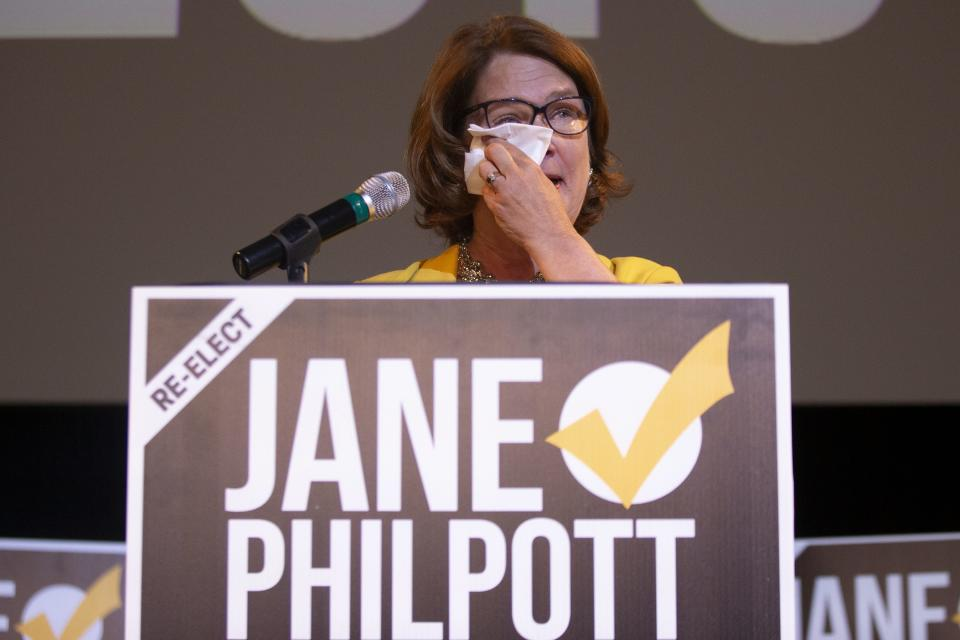 Independent candidate Jane Philpott reacts as she speaks to supporters after losing her Markham-Stouffville seat to Liberal candidate Helena Jaczek, in the Federal Election, on Monday, October 21, 2019. THE CANADIAN PRESS/Chris Young