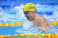 <p>Australia's Izaac Stubblety-Cook competes in a heat for the mixed 4x100m medley relay swimming event during the Tokyo 2020 Olympic Games at the Tokyo Aquatics Centre in Tokyo on July 29, 2021. (Photo by Oli SCARFF / AFP) (Photo by OLI SCARFF/AFP via Getty Images)</p>
