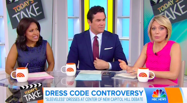 Sheinelle Jones, Dean Cain, and Dylan Dreyer discuss the reporter being barred from the Speaker's Lobby on Capitol Hill for wearing a sleeveless dress. (Photo: NBC)