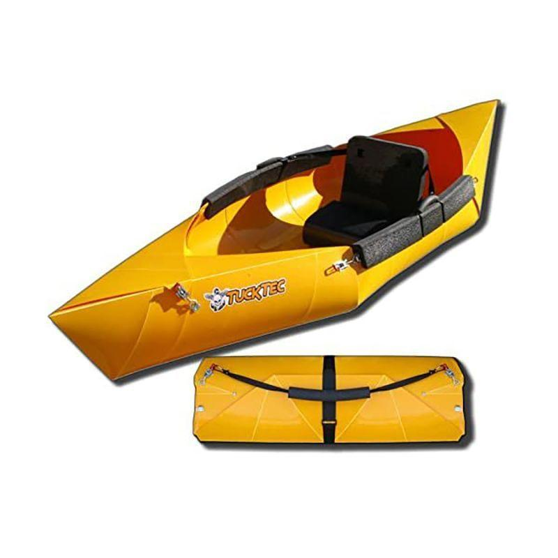 """<p><strong>Tucktec</strong></p><p>foldupkayaks.com</p><p><strong>$450.00</strong></p><p><a href=""""https://foldupkayaks.com/collections/kayaks/products/folding-kayak-10-ft-hard-shell-foldable-kayak"""" rel=""""nofollow noopener"""" target=""""_blank"""" data-ylk=""""slk:Shop Now"""" class=""""link rapid-noclick-resp"""">Shop Now</a></p><p><strong>• Length: </strong>9 ft, 8 in.<br><strong>• Weight: </strong>28 lb. </p><p>One of the most affordable kayaks available, the Tucktec Folding Kayak is built from a single sturdy sheet of plastic. It's a more durable alternative to inflatable kayaks within its price range and performs similar to a budget hard-shell kayak. Best for calm days with little wind, the Tucktec is agile, tracks straight, and is made for recreational kayakers. The most common complaint about the kayak is its seat, which some paddlers swap out for a more comfortable alternative. </p>"""