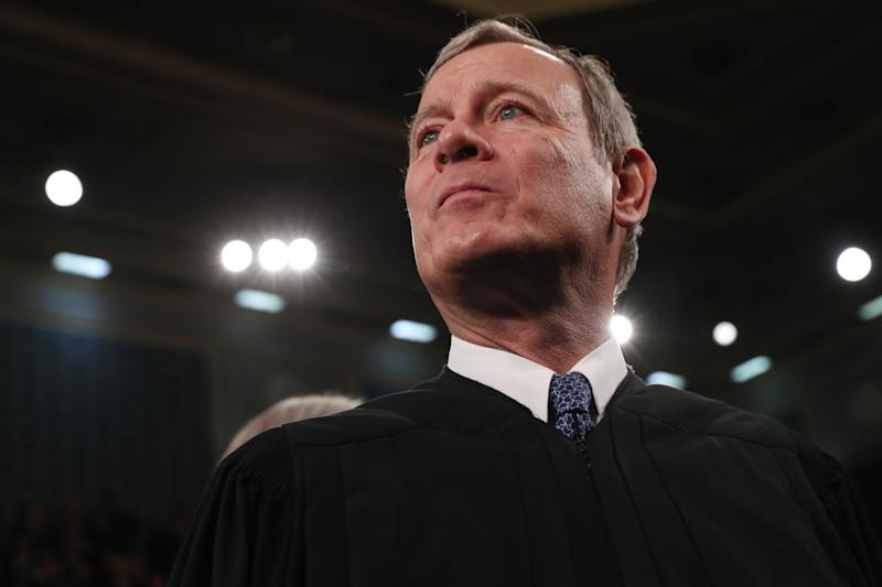 WASHINGTON, DC - FEBRUARY 04: U.S. Supreme Court Chief Justice John Roberts awaits the arrival to hear President Donald Trump deliver the State of the Union address in the House chamber on February 4, 2020 in Washington, DC. Trump is delivering his third State of the Union address on the night before the U.S. Senate is set to vote in his impeachment trial. (Photo by Leah Millis-Pool/Getty Images)