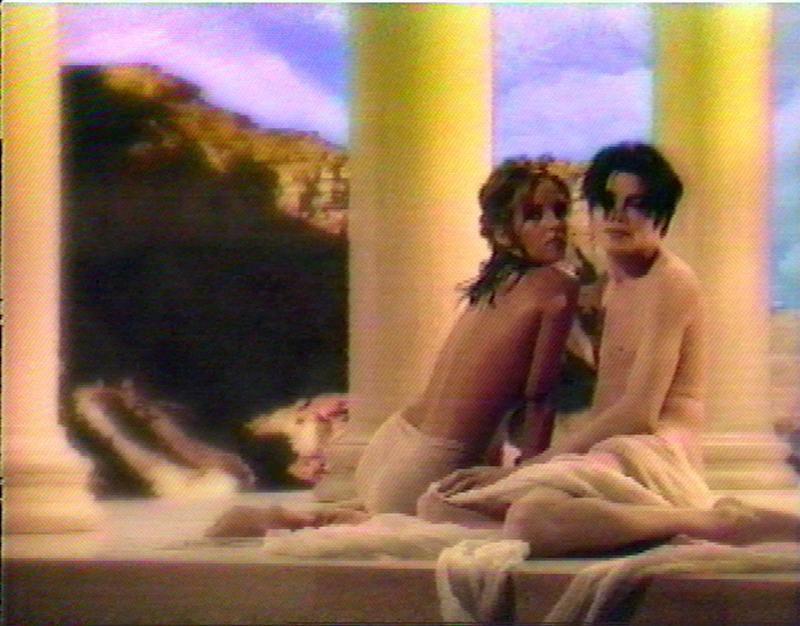 "Michael Jackson is seen in his newest video ""You Are Not Alone"" with his wife Lisa Marie Presley-Jackson in this image made from television during it's debut Friday, July 28, 1995. A glimpse of the Jackson family jewels was hastily removed via a costly computer process before the video debut, according to Daily Variety and the Los Angeles Times. (AP Photo/MTV Music Television/Epic Records)"