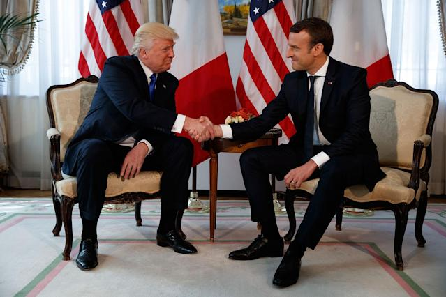 <p>President Donald Trump shakes hands with French President Emmanuel Macron during a meeting at the U.S. Embassy, Thursday, May 25, 2017, in Brussels. (AP Photo/Evan Vucci) </p>