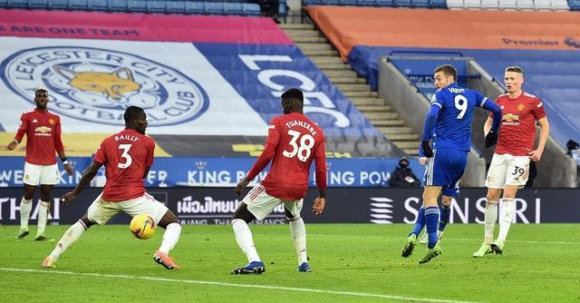 Jamie Vardy's shot goes in off Axel Tuanzebe for an own goal