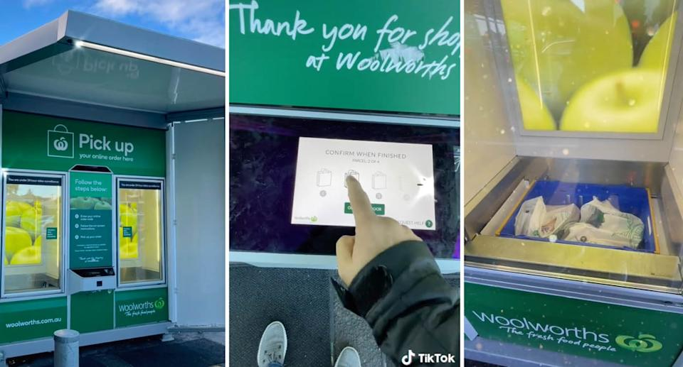 A TikTok user shows off their experience at a Woolworths Pick up box. Source: TikTok/faisalxafar