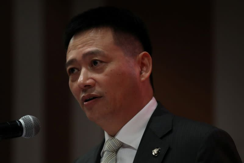 Proton chief executive officer Li Chunrong speaks during an event in Petaling Jaya
