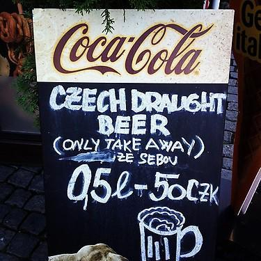 Beer sign in Prague. (#NickInEurope)