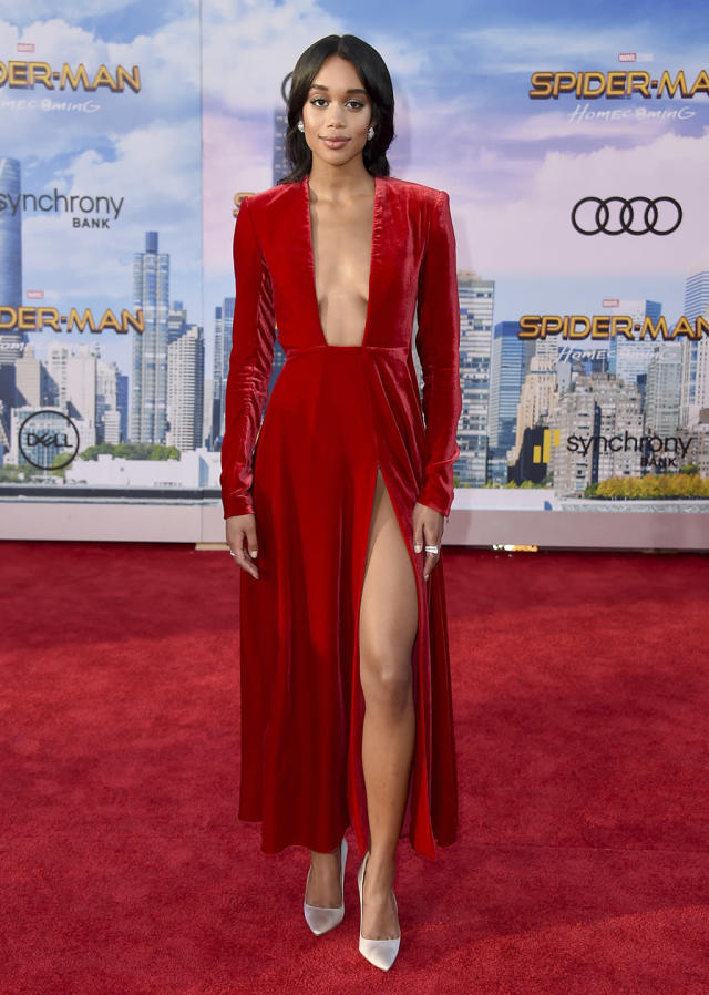 """<p><a href=""""https://www.yahoo.com/movies/tagged/laura-harrier"""" data-ylk=""""slk:Laura Harrier"""" class=""""link rapid-noclick-resp"""">Laura Harrier</a> challenges the high school dress code at the <a href=""""https://www.yahoo.com/movies/film/spider-man-homecoming"""" data-ylk=""""slk:Spider-Man: Homecoming"""" class=""""link rapid-noclick-resp""""><em>Spider-Man: Homecoming</em></a> premiere at TCL Chinese Theatre on June 28, 2017, in Hollywood. (Photo: Jordan Strauss/Invision/AP) </p>"""