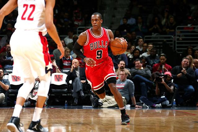 "<a class=""link rapid-noclick-resp"" href=""/nba/players/4149/"" data-ylk=""slk:Rajon Rondo"">Rajon Rondo</a> took the floor for the Bulls on Monday for the first time in 2017. (Getty Images)"