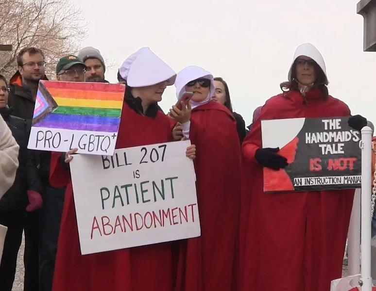 Protesters say Alberta bill would make it harder to access some medical services