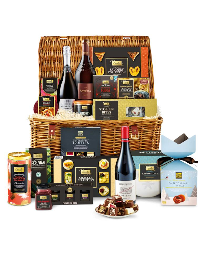 <p>The Christmas Feast hamper comes in at just £84.99, and again is presented in a wonderful wicker basket. Included is a selection of biscuits for cheese, stollen bites, a 18-month matured Christmas pudding, a selection of truffles, an iced fruit cake, fudge, three bottles of plonk, including a Prosecco, and a chutney gift set. </p>