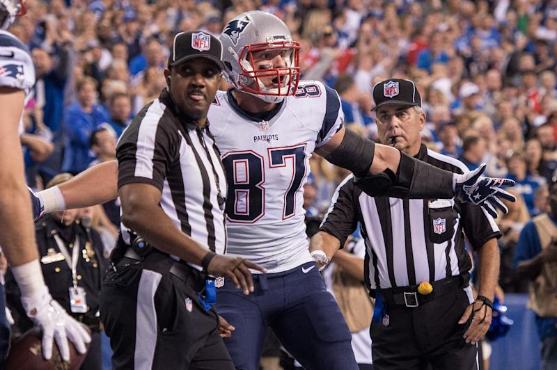 Rob Gronkowski reacts to a penalty in 2015 against the Colts. (Getty Images)