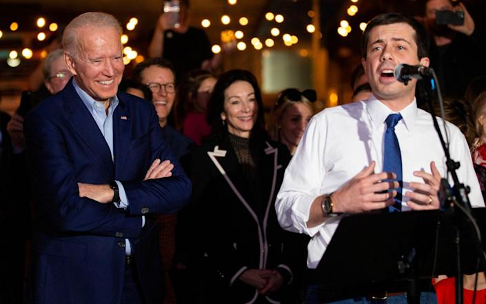 Former Democratic presidential primary candidate Pete Buttigieg endorses Joe Biden, during an event before Super Tuesday primary voting - AP