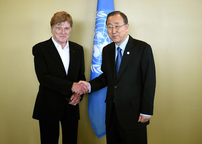 UN Secretary-General Ban Ki-moon meets with actor and environmental activist Robert Redford at the United Nations in New York on June 29, 2015