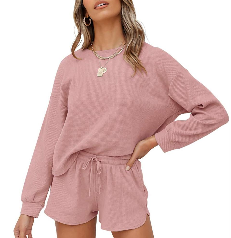 """<h2>ZESICA Waffle-Knit Long-Sleeve Top & Shorts</h2><br><strong>Available Sizes: S-XXL</strong><br>This cute muted-blush set is crafted from 100% cotton — and, it comes approved by over 500 discerning Amazon-reviewers who call it everything from cozy to affordable and quality. As one pleased customer raves, """"I love this set so much! So cute and cozy, I can easily dress it up with some chunky jewelry and sneakers or just wear it as comfy loungewear. Definitely recommend it!""""<br><br><em>Shop <strong><a href=""""https://amzn.to/3unGjpt"""" rel=""""nofollow noopener"""" target=""""_blank"""" data-ylk=""""slk:Amazon"""" class=""""link rapid-noclick-resp"""">Amazon</a></strong></em><br><br><strong>Zesica</strong> Waffle Knit Long Sleeve Top & Shorts, $, available at <a href=""""https://amzn.to/3ueAtGy"""" rel=""""nofollow noopener"""" target=""""_blank"""" data-ylk=""""slk:Amazon"""" class=""""link rapid-noclick-resp"""">Amazon</a>"""