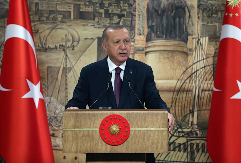 President of Turkey, Recep Tayyip Erdogan speaks on the gas resources found in the Black Sea during a press conference.