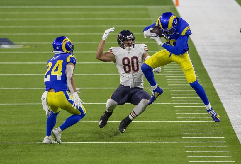 INGLEWOOD, CA - OCTOBER 26, 2020: Los Angeles Rams cornerback Jalen Ramsey (20) intercepts a pass intended for Chicago Bears tight end Jimmy Graham (80) in the 4th quarter at So-Fi Stadium on October 26, 2020 in Inglewood, California. (Gina Ferazzi / Los Angeles Times)