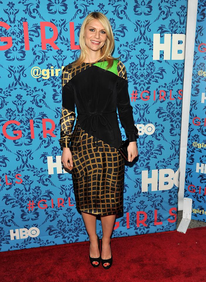 """Claire Danes attends the premiere of HBO's """"<a target=""""_blank"""" href=""""http://tv.yahoo.com/girls/show/47563"""">Girls</a>"""" at the School of Visual Arts Theater on April 4, 2012 in New York City."""