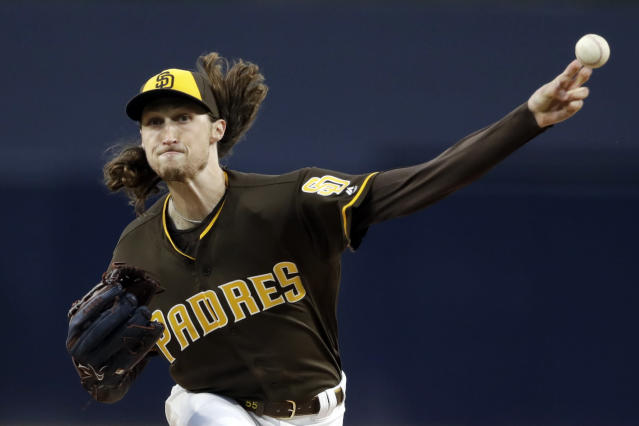 San Diego Padres starting pitcher Matt Strahm works against a Cincinnati Reds batter during the first inning of a baseball game Friday, April 19, 2019, in San Diego. (AP Photo/Gregory Bull)