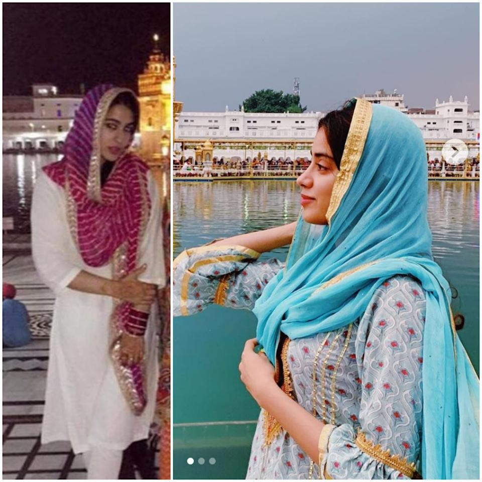 They kept their looks ordinary and picked the simplest <em>kurti </em>and <em>dupattas </em>while visiting Amritsar and paying their respects at Sri Harmandir Sahib. Sara was seen in her staple white cotton <em>churidaar-kurti</em> with a <em>leheria dupatta</em> secured with a <em>gota-patti </em>border, while Janhvi visited the holy site covering her head with a blue <em>dupatta </em>and printed powder-blue <em>kurti </em>featuring a ruffled sleeve.