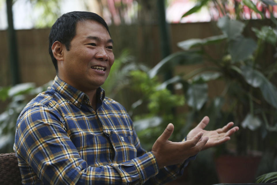 """FILE- In this Nov. 8, 2019, photo, Mingma Sherpa, owner of Seven Summit Treks speaks during an interview with the Associated Press in Kathmandu, Nepal. """"Even though coronavirus has reached the Everest base camp it has not made any huge effect like what is being believed outside of the mountain,"""" said the biggest expedition operator on Everest. """"No one has really fallen seriously sick because of COVID or died like the rumors that has been spreading."""" (AP Photo/Niranjan Shrestha, File)"""
