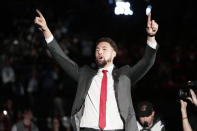 Golden State Warriors and former Washington State guard Klay Thompson walks onto the court as the school retired his jersey number during halftime of an NCAA college basketball game between Washington State and Oregon State in Pullman, Wash., Saturday, Jan. 18, 2020. (AP Photo/Young Kwak)