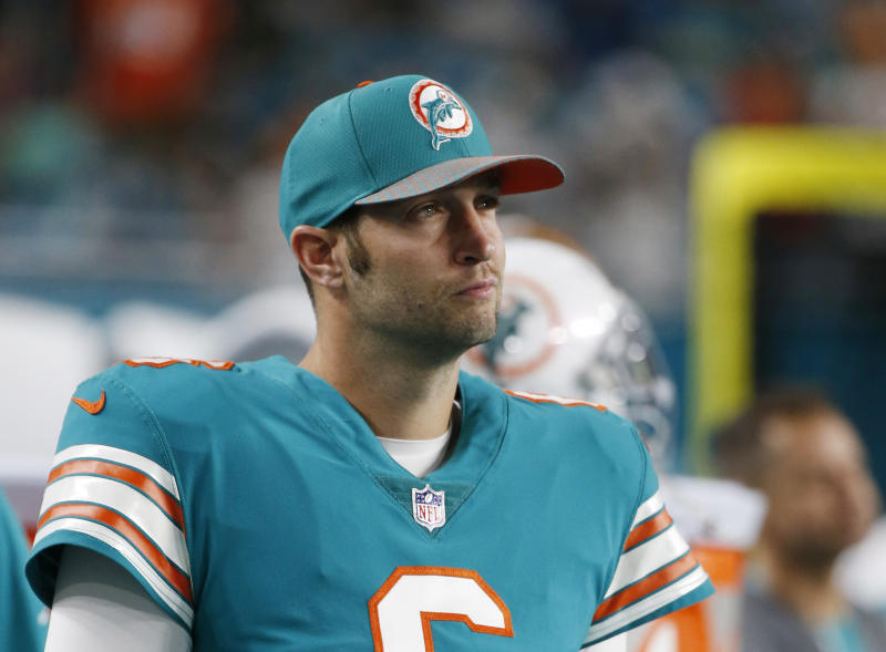 In this Dec. 31, 2017, photo, Miami Dolphins quarterback Jay Cutler (6) looks from the sidelines, during the first half of an NFL football game against the Buffalo Bills in Miami Gardens, Fla. Reality TV star Kristin Cavallari and former Chicago Bears quarterback Cutler are getting divorced. Cavallari announced Sunday, April 26, 2020, in an Instagram post that the couple are breaking up after after seven years of marriage and a decade together. (AP Photo/Wilfredo Lee)