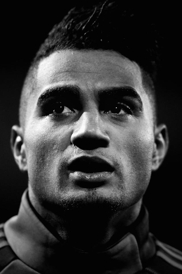 ANDERLECHT, BELGIUM - NOVEMBER 21: (EDITORS NOTE: Image has been converted to black and white.) Kevin-Prince Boateng of AC Milan warms up prio to the UEFA Champions League Group C match between RSC Anderlecht and AC Milan at the Constant Vanden Stock Stadium on November 21, 2012 in Anderlecht, Belgium. (Photo by Dean Mouhtaropoulos/Getty Images)