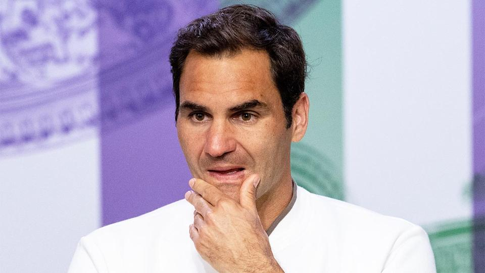 Roger Federer (pictured) looking frustrated after losing at Wimbledon.